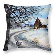 Snowy Chalet Throw Pillow