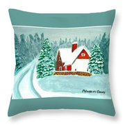 Snowy Cottage Throw Pillow