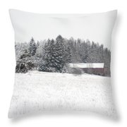 Snowy Countryside Throw Pillow