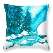 Snowy Creek Banks Throw Pillow