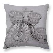 Snowy Cycle Wheel Throw Pillow