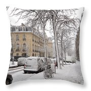 Snowy Day In Paris Throw Pillow