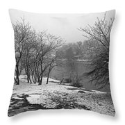 Snowy Day On Redd's Pond And Old Burial Hill Throw Pillow