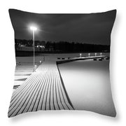 Snowy Dock Throw Pillow