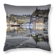 Snowy, Dreamy Reflection In Stockholm Throw Pillow