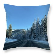 Snowy Drive Throw Pillow