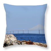 Snowy Egret And Sunshine Skyway Bridge Throw Pillow