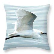 Snowy Egret In Flight Throw Pillow