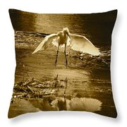Snowy Egret Landing With Golden Tones Throw Pillow