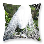 Snowy Egret Mom And Chick Throw Pillow