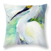 Snowy Egret On Lido Beach Throw Pillow