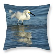 Snowy Egret On The Hunt II Throw Pillow