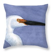 Snowy Egret Portrait Throw Pillow