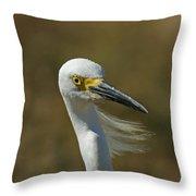 Snowy Egret Profile 2 Throw Pillow