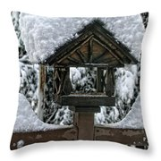 Snowy Feeder Throw Pillow