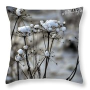 Snowy Flowers  Throw Pillow