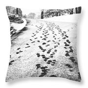Snowy Footsteps Throw Pillow