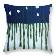 Snowy Forest At Midnight Throw Pillow