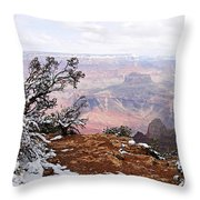 Snowy Frame - Grand Canyon Throw Pillow