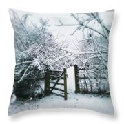 Snowy Garden Gate Three Throw Pillow