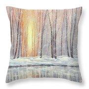 Snowy Glow Throw Pillow