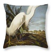 Snowy Heron Throw Pillow by John James Audubon