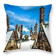 Snowy Hogsmeade Village Rooftops Throw Pillow