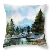 Snowy Lake Reflections Throw Pillow
