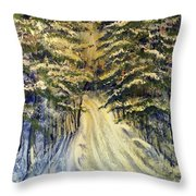 Snowy Lane Throw Pillow