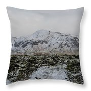 Snowy Lava Fields Iceland Throw Pillow