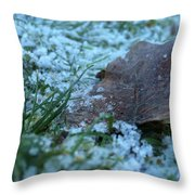 Snowy Leaf Throw Pillow
