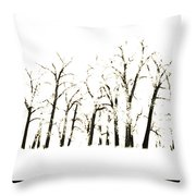 Snowy Line Up Throw Pillow