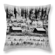 Snowy Log Cabins At Valley Forge Throw Pillow