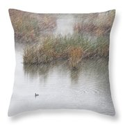 Snowy Marsh With Duck Throw Pillow