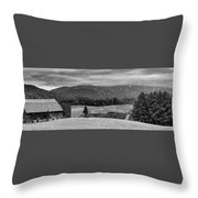 Snowy Mountain Farm Throw Pillow