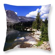 Snowy Mountain Lake Throw Pillow