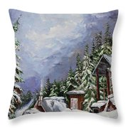 Snowy Mountain Resort Throw Pillow