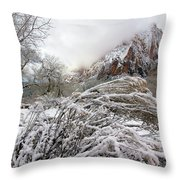 Snowy Mountains In Zion Throw Pillow