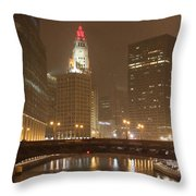Snowy Night In Chicago Throw Pillow