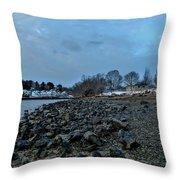 Snowy Obear Park, Beverly Ma, At Dusk Throw Pillow