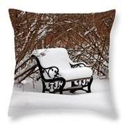 Snowy Park Bench Throw Pillow