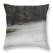 Snowy Patriot Quantico National Cemetery Throw Pillow