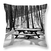 Snowy Picnic Table In Black And White Throw Pillow