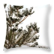 Snowy Pine Throw Pillow