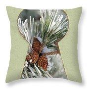 Snowy Pine Keyhole Throw Pillow