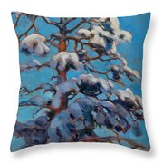 Snowy Pine-tree Throw Pillow
