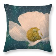 Snowy Poppy Throw Pillow
