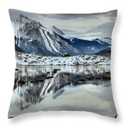 Snowy Reflections In Medicine Lake Throw Pillow