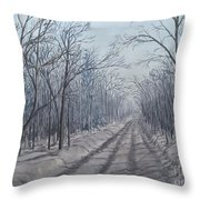 Snowy Road At Dawn  Throw Pillow