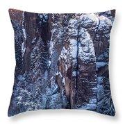 Snowy Rocks. Saxon Switzerland Throw Pillow